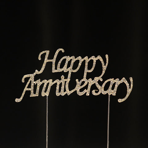 Happy Anniversary Rhinestone Cake Topper - Wholesale Wedding Chair Covers l Wedding & Party Supplies