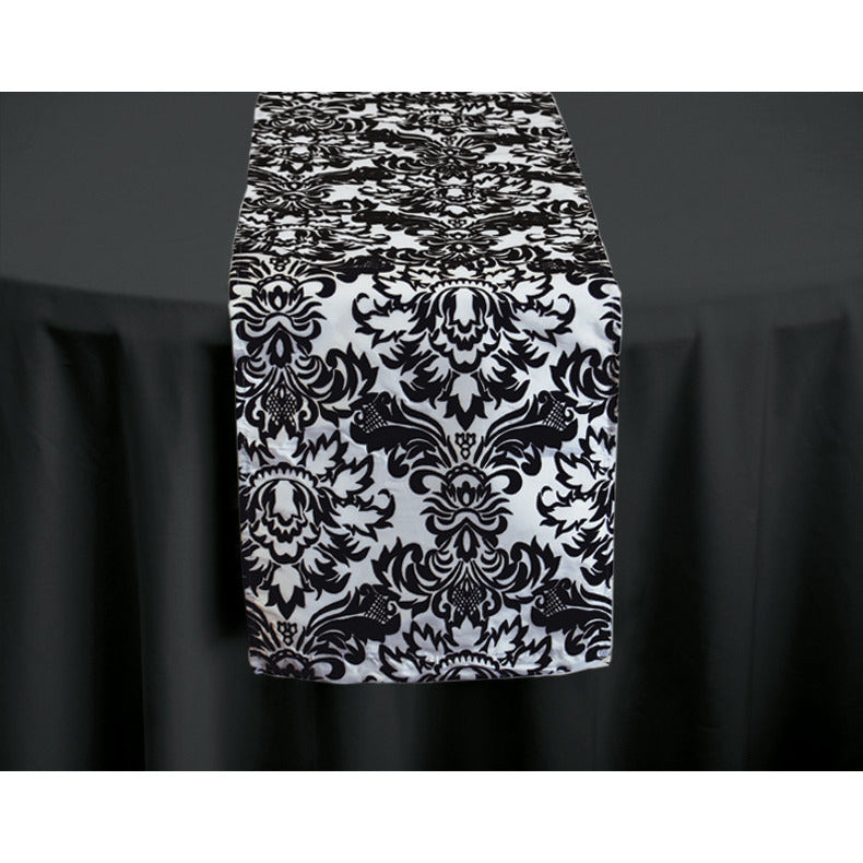Black & White Damask Table Runner - Wholesale Wedding Chair Covers l Wedding & Party Supplies