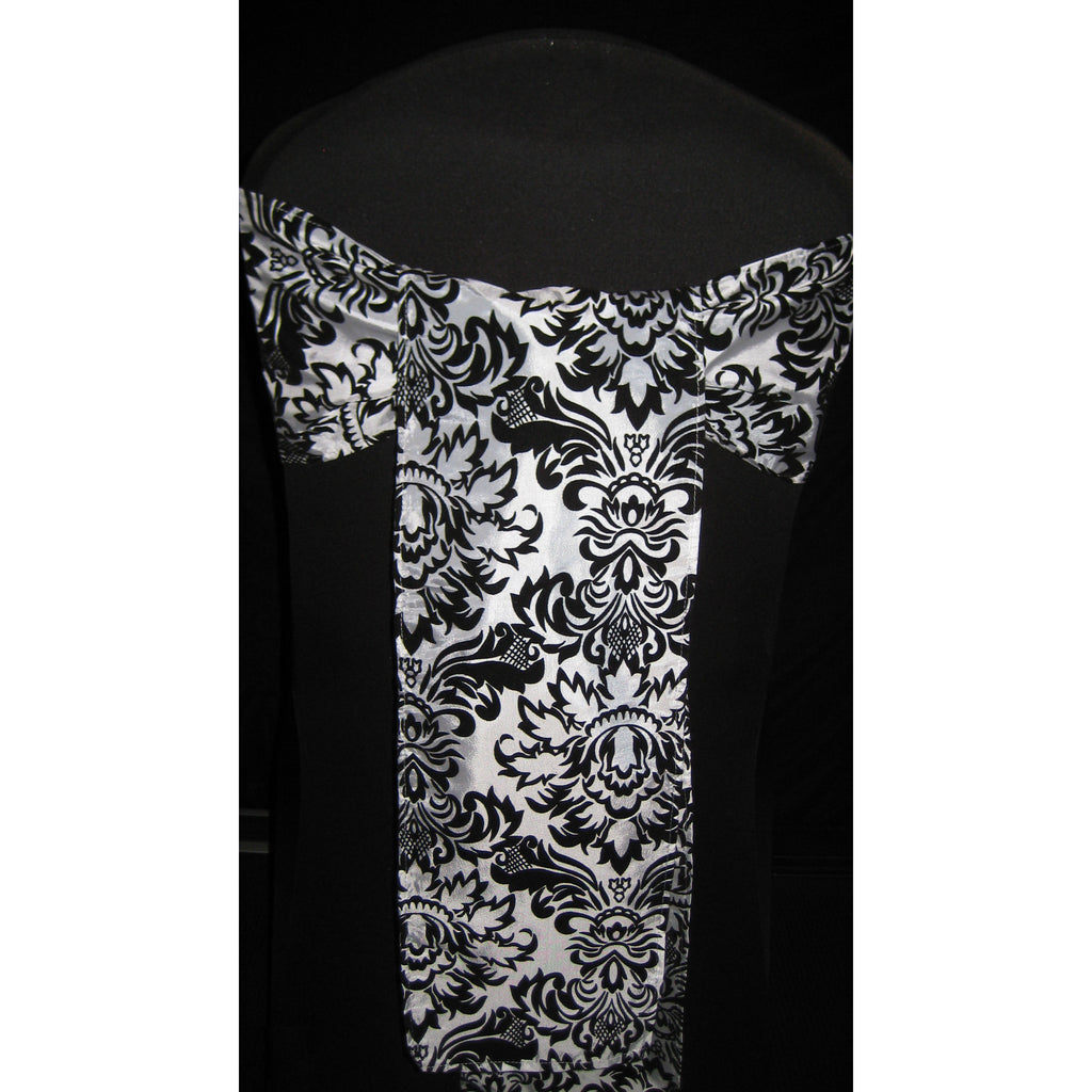 BLACK/WHITE Damask Sash (Pack of 10) - Wholesale Wedding Chair Covers l Wedding & Party Supplies