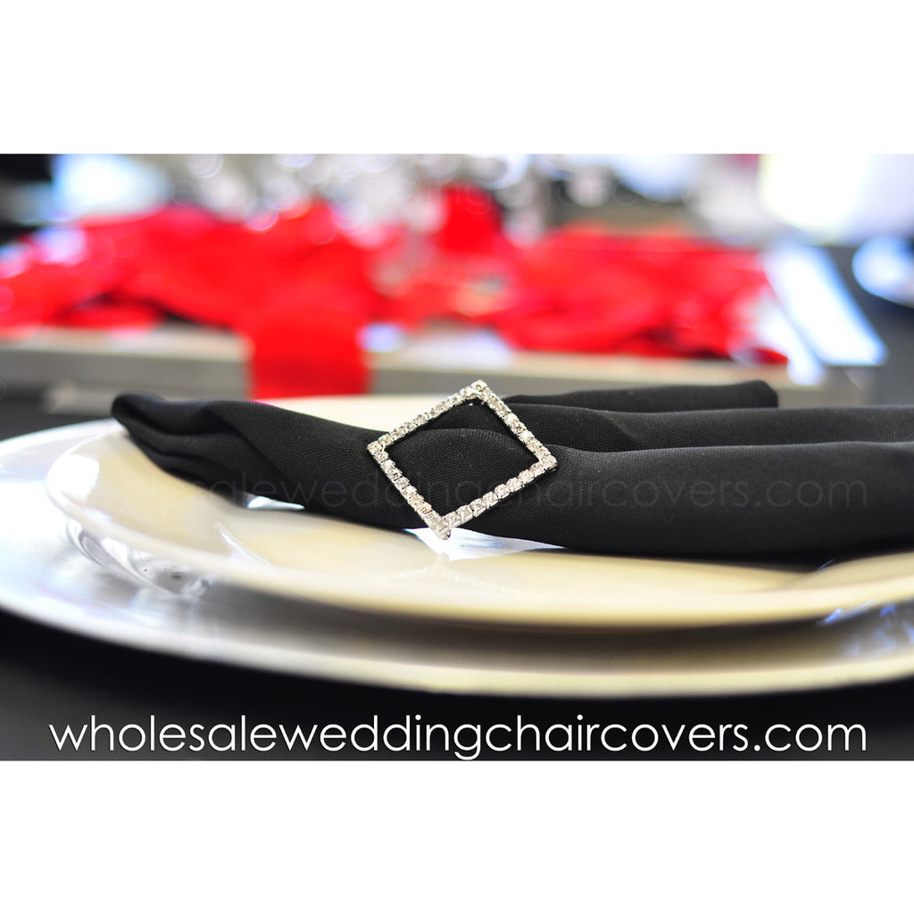Diamond shaped rhinestone napkin/sash holder - Wholesale Wedding Chair Covers l Wedding & Party Supplies
