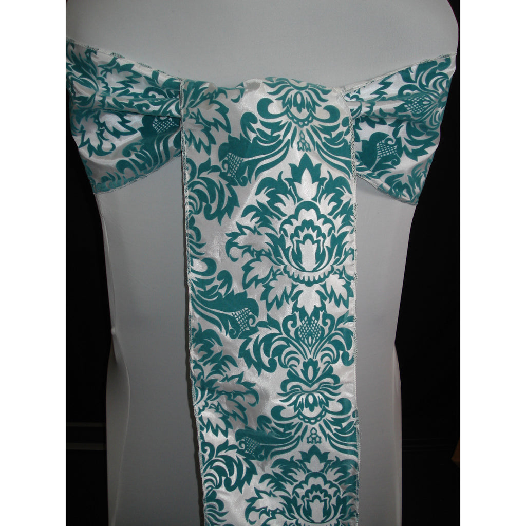 TEAL Damask Sash (Pack of 10) - Wholesale Wedding Chair Covers l Wedding & Party Supplies