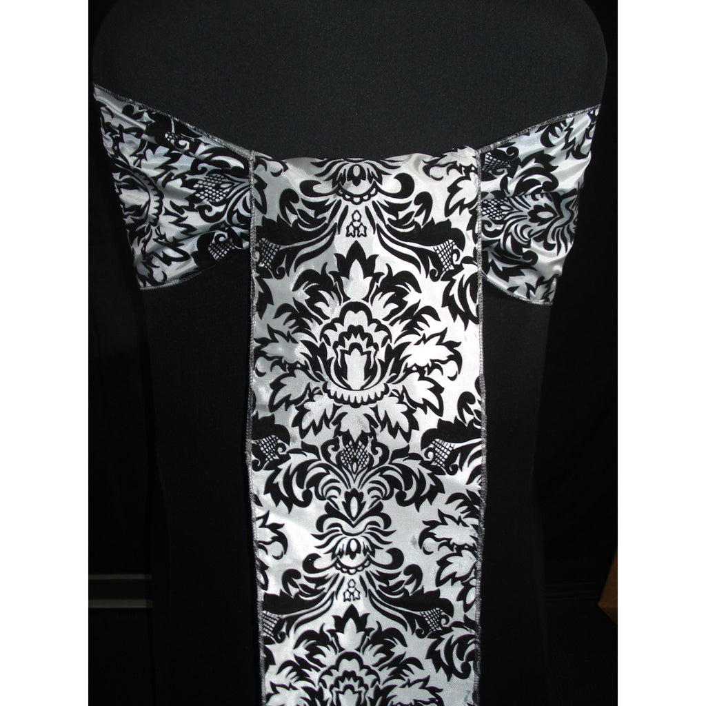 SILVER/BLACK Damask Sash (Pack of 10) - Wholesale Wedding Chair Covers l Wedding & Party Supplies