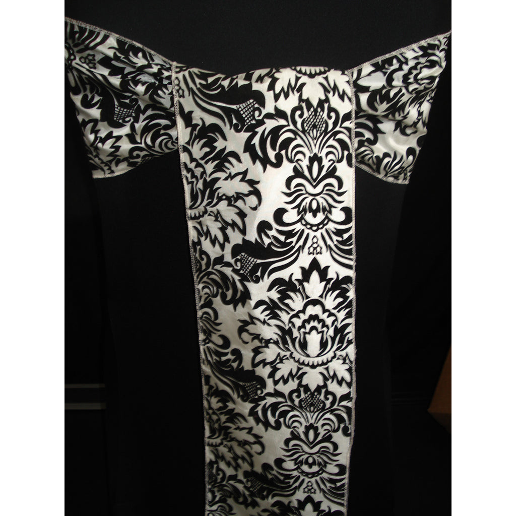 IVORY/BLACK Damask Sash (Pack of 10) - Wholesale Wedding Chair Covers l Wedding & Party Supplies