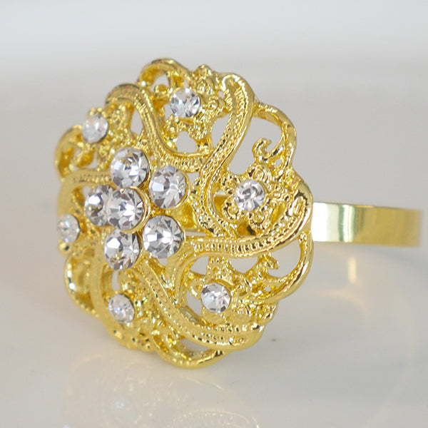 Gold rhinestone napkin rings (12 pack) - Wholesale Wedding Chair Covers l Wedding & Party Supplies