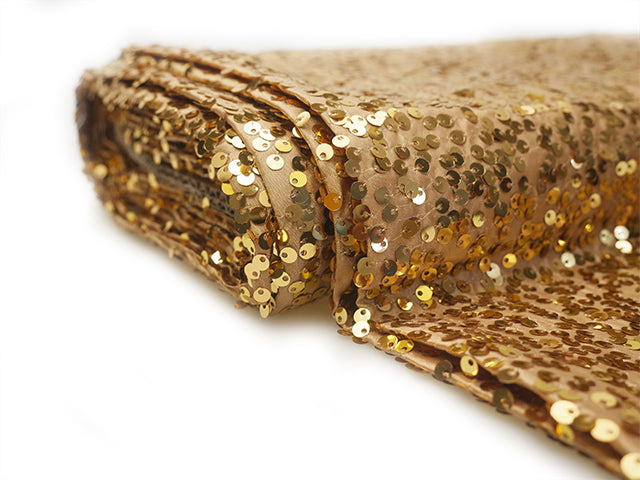 Sequin fabric bolt Gold (10 yards) - Wholesale Wedding Chair Covers l Wedding & Party Supplies
