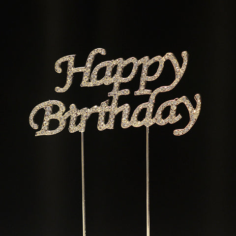 Happy Birthday Rhinestone Cake Topper - Wholesale Wedding Chair Covers l Wedding & Party Supplies