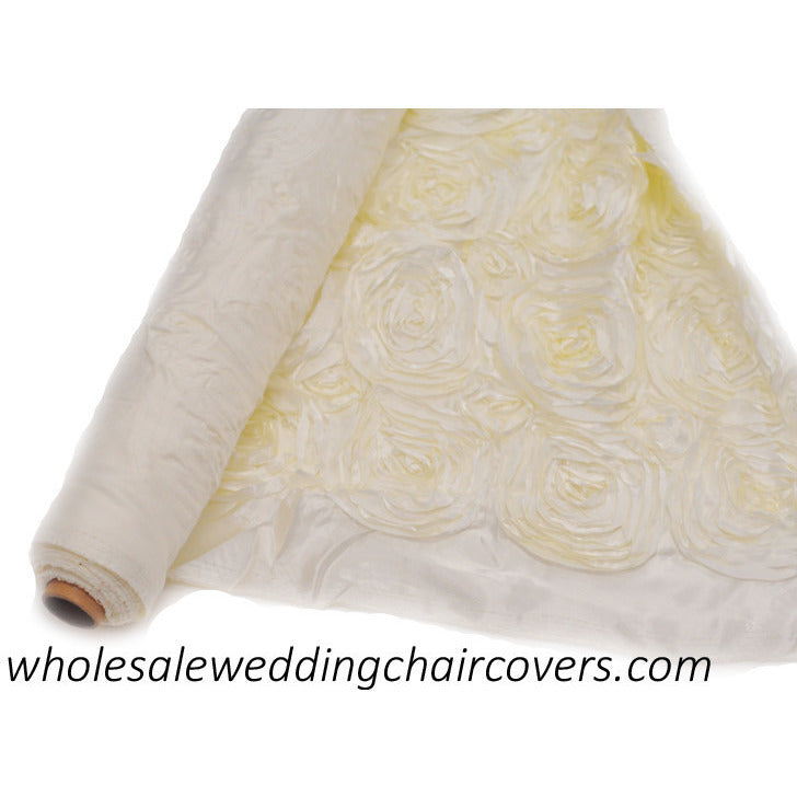 Ribbon rose fabric roll Ivory - Wholesale Wedding Chair Covers l Wedding & Party Supplies