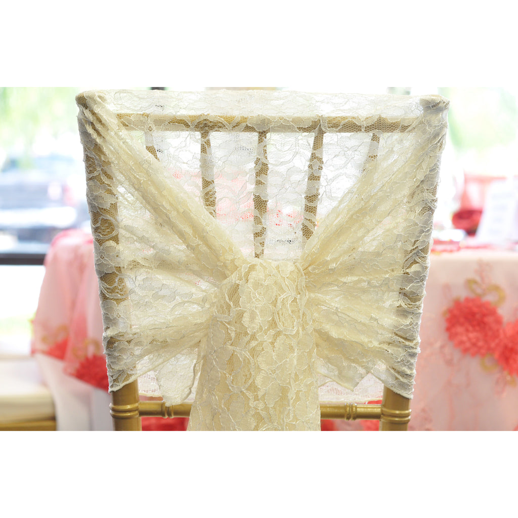 Ivory Vintage Lace Chair Hood - Wholesale Wedding Chair Covers l Wedding & Party Supplies