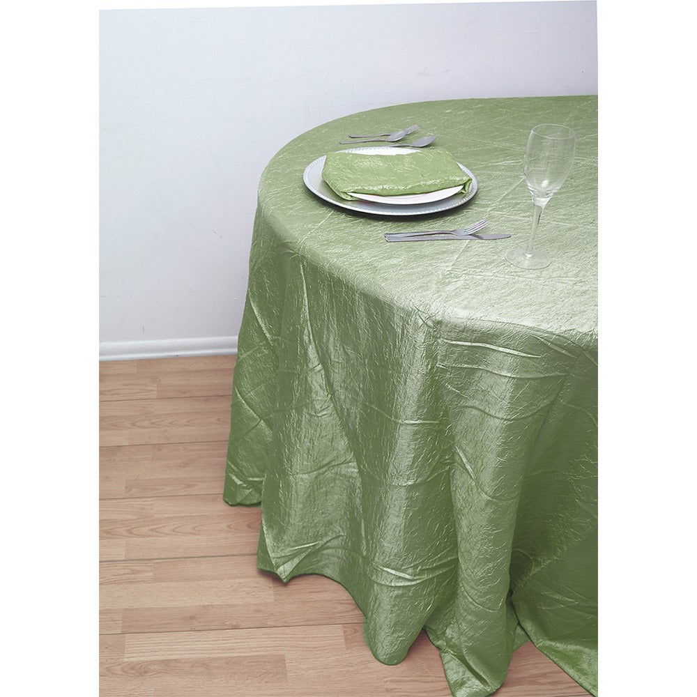"132"" Round Crushed Taffeta Tablecloth - Wholesale Wedding Chair Covers l Wedding & Party Supplies"