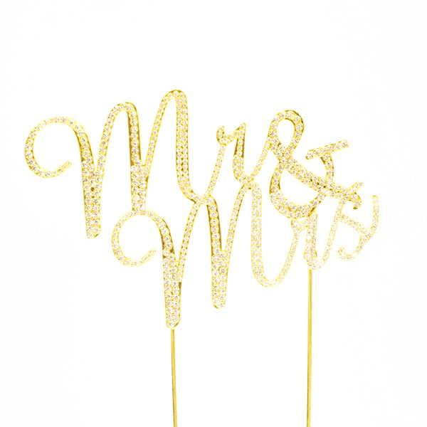 Mr & Mrs Rhinestone Cake Topper - Wholesale Wedding Chair Covers l Wedding & Party Supplies