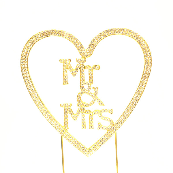 Mr & Mrs Heart Cake topper Gold - Wholesale Wedding Chair Covers l Wedding & Party Supplies