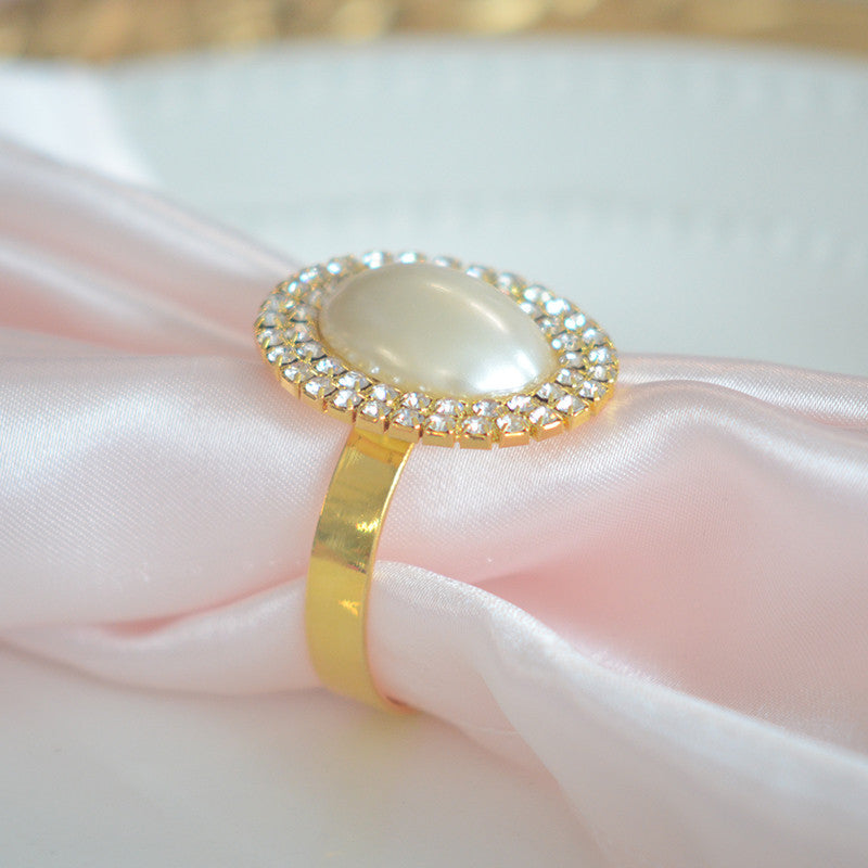 Oval shaped pearl rhinestone napkin ring - Wholesale Wedding Chair Covers l Wedding & Party Supplies