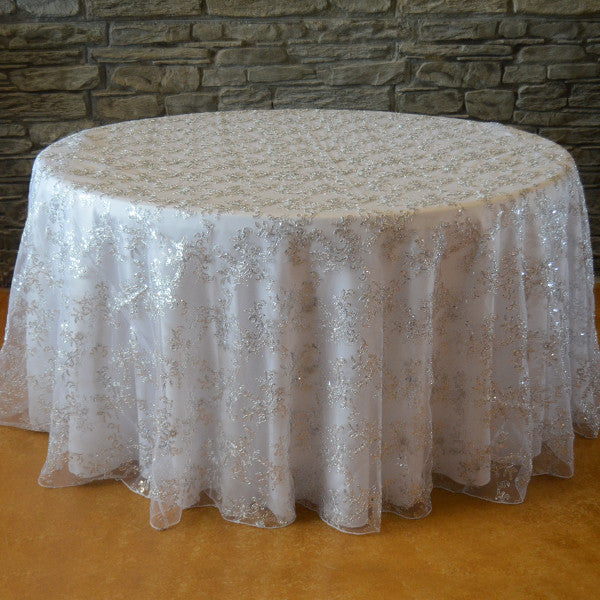 120 Quot Round Sequins Floral Tablecloth Designer Table