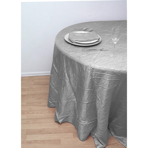 "120"" Round Crushed Taffeta Tablecloth - Wholesale Wedding Chair Covers l Wedding & Party Supplies"
