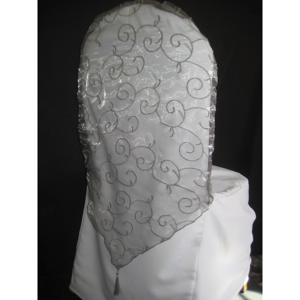 Embroidered Banquet Chair Cap Wholesale Wedding Chair Covers