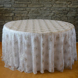 "120"" Round Snowflake tablecloth - Wholesale Wedding Chair Covers l Wedding & Party Supplies"