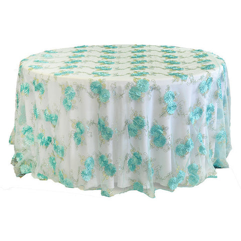 "120"" round Floral Embroidered Tableloth - Wholesale Wedding Chair Covers l Wedding & Party Supplies"