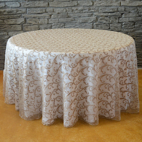 "120"" round Swirl tablecloth - Wholesale Wedding Chair Covers l Wedding & Party Supplies"