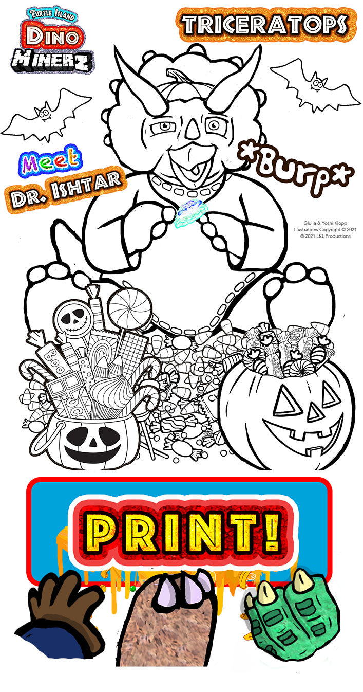 Triceratops Halloween Coloring Pages