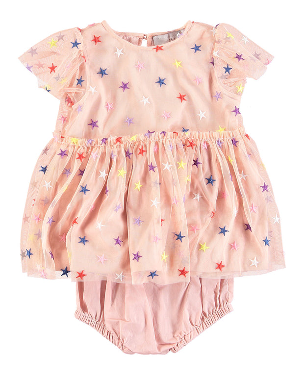 Multicolored Embroidered Star Tulle Dress w/ Bloomers by STELLA MCCARTNEY KIDS