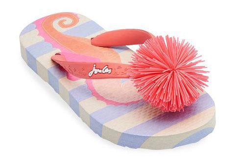 Striped Flip Flop Sandals w/ Rubber Pompom by JOULES - Bunny Buddha