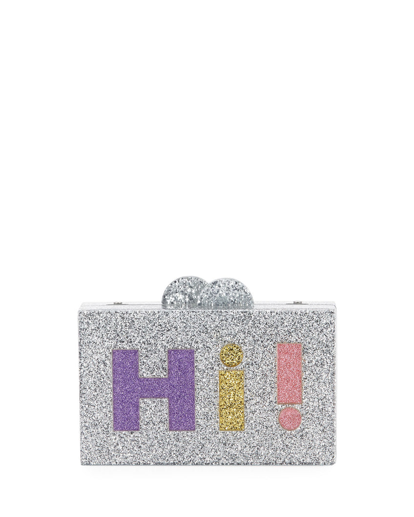 Girls' Hi/Bye Glittered Acrylic Box Clutch Bag by BARI LYNN - Bunny Buddha