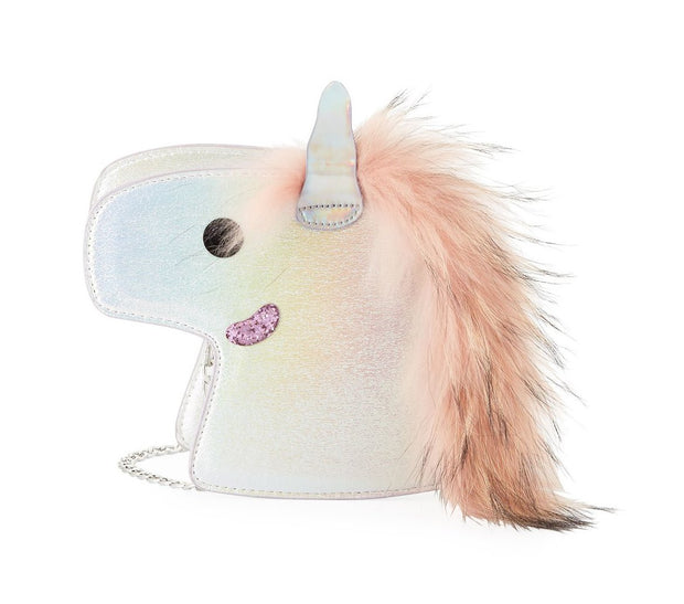 Girls' Iridescent Unicorn Clutch Bag w/ Fur Mane by BARI LYNN - Bunny Buddha