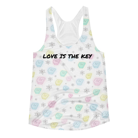 Crystal Keys All Over Women's Racerback Tank - Bunny Buddha