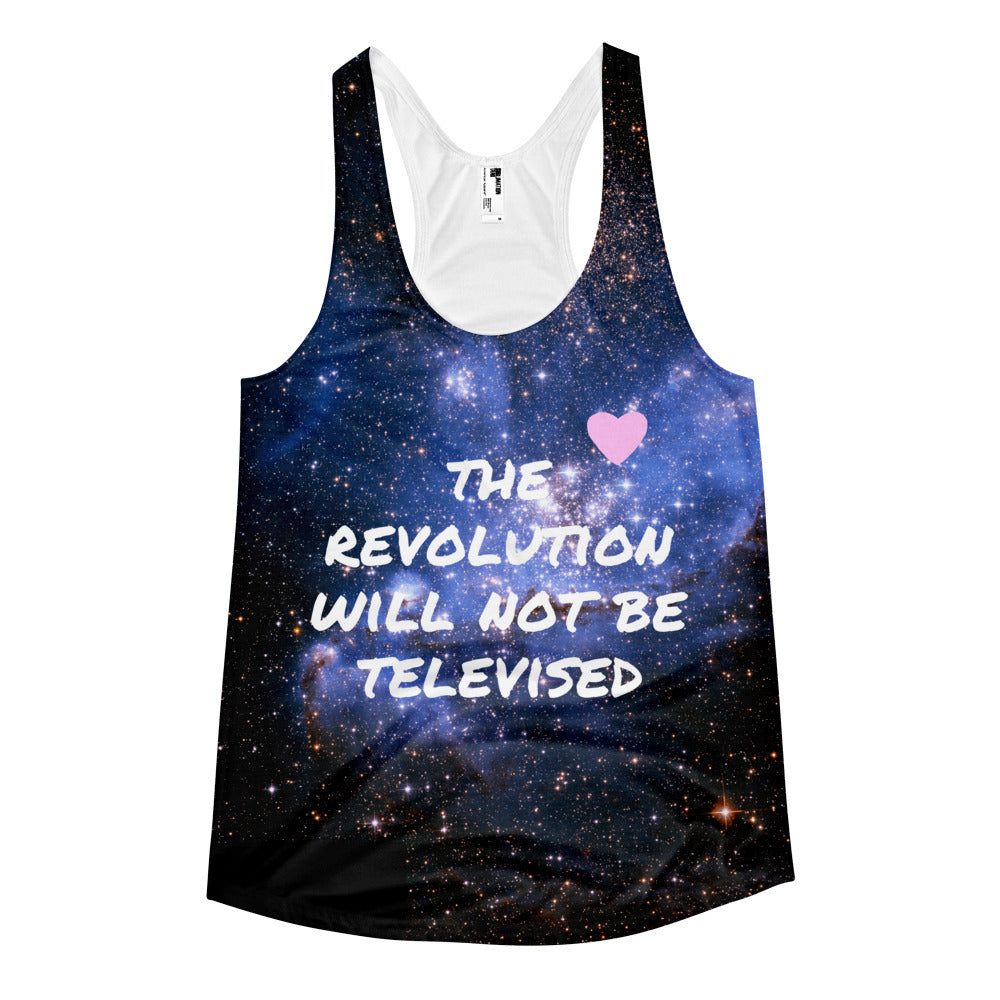 The Revolution Will Not Be Televised Women's racerback tank - Bunny Buddha
