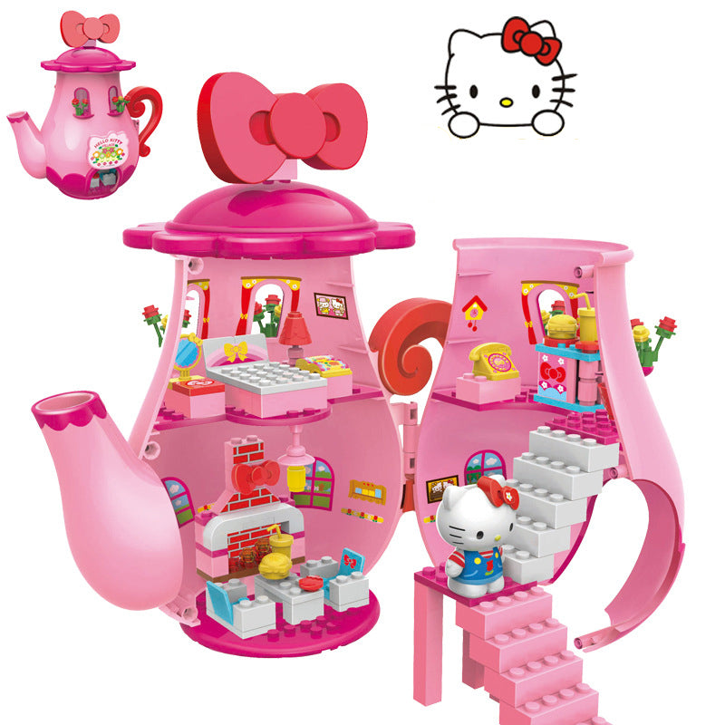 Hello Kitty™ Plastic Pink Teapot - Building Blocks - Educational Toy For Girls - Bunny Buddha