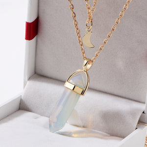 Quartz + Gold Moon Necklace - Bunny Buddha