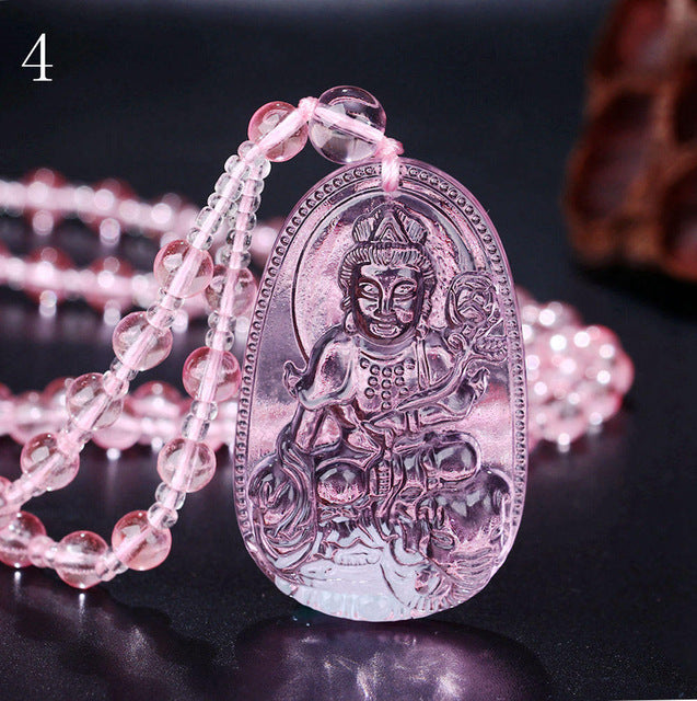 Pink Buddha Prayer Bead Necklace - Bunny Buddha