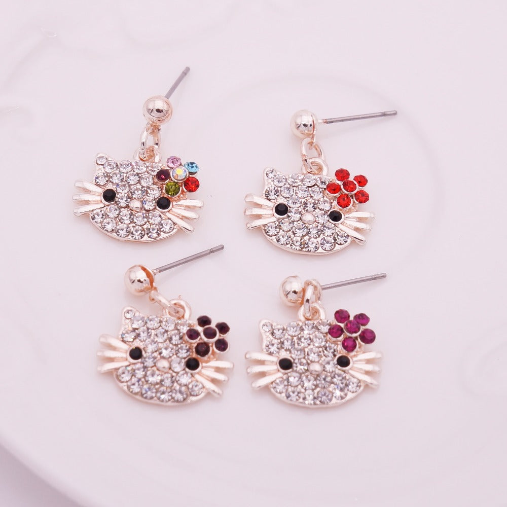 Rhinestone Hello Kitty Stud Earrings - Bunny Buddha
