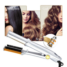 Load image into Gallery viewer, Professional 3 -Mode Rotating Curling Brush + Straightener - Bunny Buddha