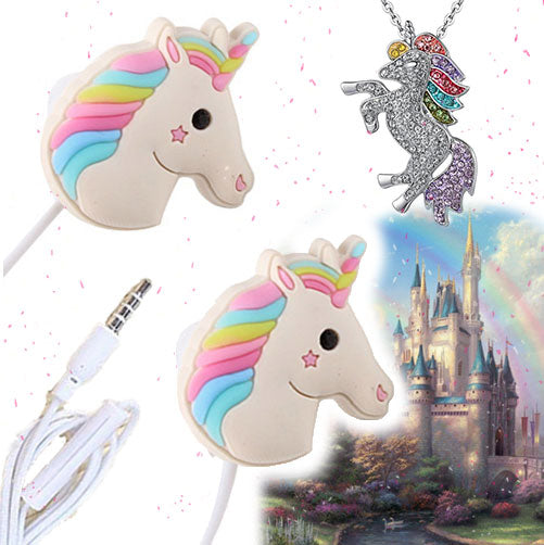 Cute Unicorn Earbuds With Mic For Smartphone + FREE Necklace - Bunny Buddha