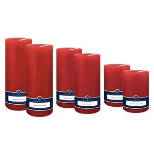 Red Set of Holiday Décor Pillars, Pack Of 6