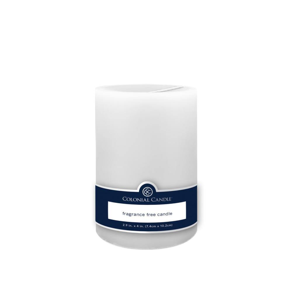 3x4in Unscented Pillar Candle White, 3x4in Pillar, Colonial Candle