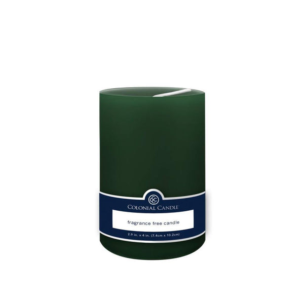 3x4in Unscented Pillar Candle Evergreen