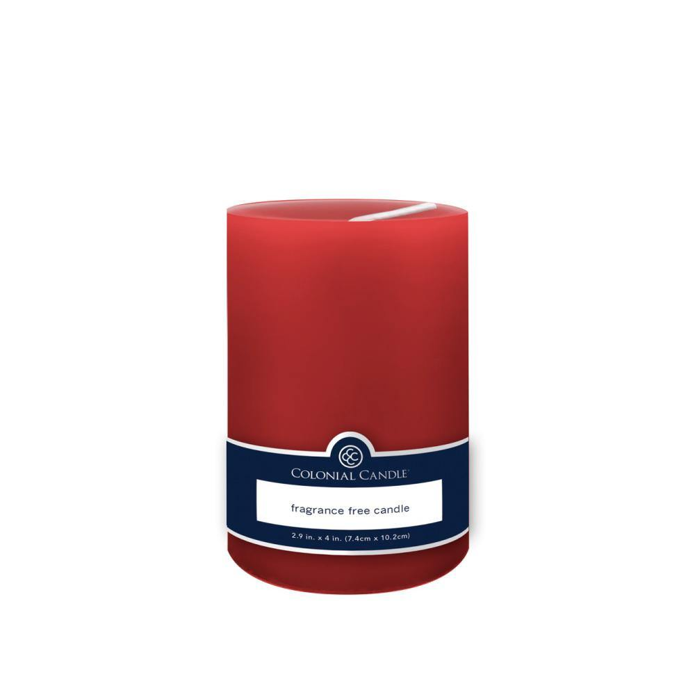 3x4in Unscented Pillar Candle Red - Colonial Candle