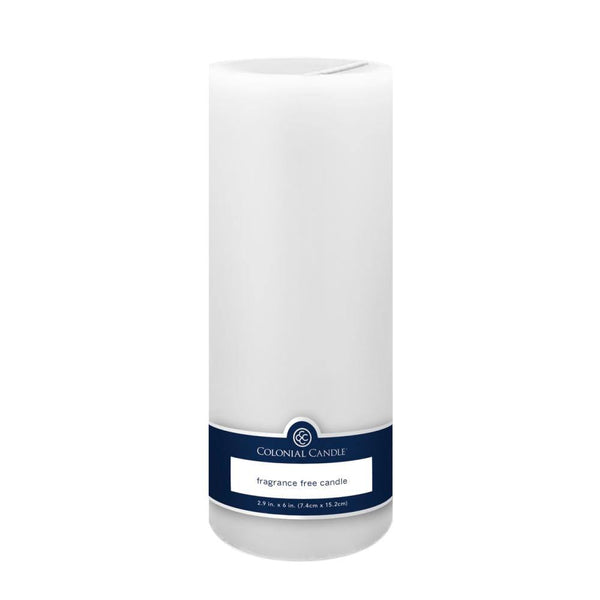 3x9in Unscented Pillar Candle White