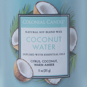 Colonial Candle Classic Cylinder Scented Jar Candle, Coconut Water, 11 oz, Single