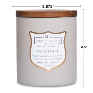 Manly Indulgence Scented Jar Candle, Signature Collection - Palo Santo, 15 oz - Single