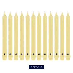 "10"", Classic Colonial Candle Taper, Unscented, Limoncello, Pack of 12"