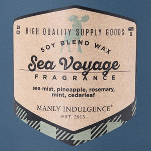 Manly Indulgence Scented Jar Candle, Adventure Collection, 15oz, Sea Voyage