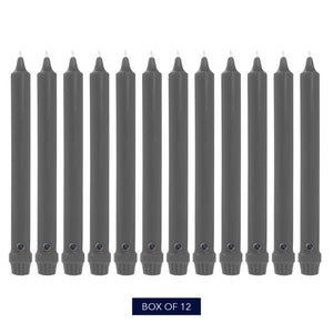 Colonial Candle Classic Taper Candle, Unscented, 8 in, Charcoal, 12 Pack