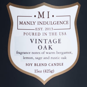 Manly Indulgence Scented Jar Candle, Signature Collection - Vintage Oak, 15 oz - Single
