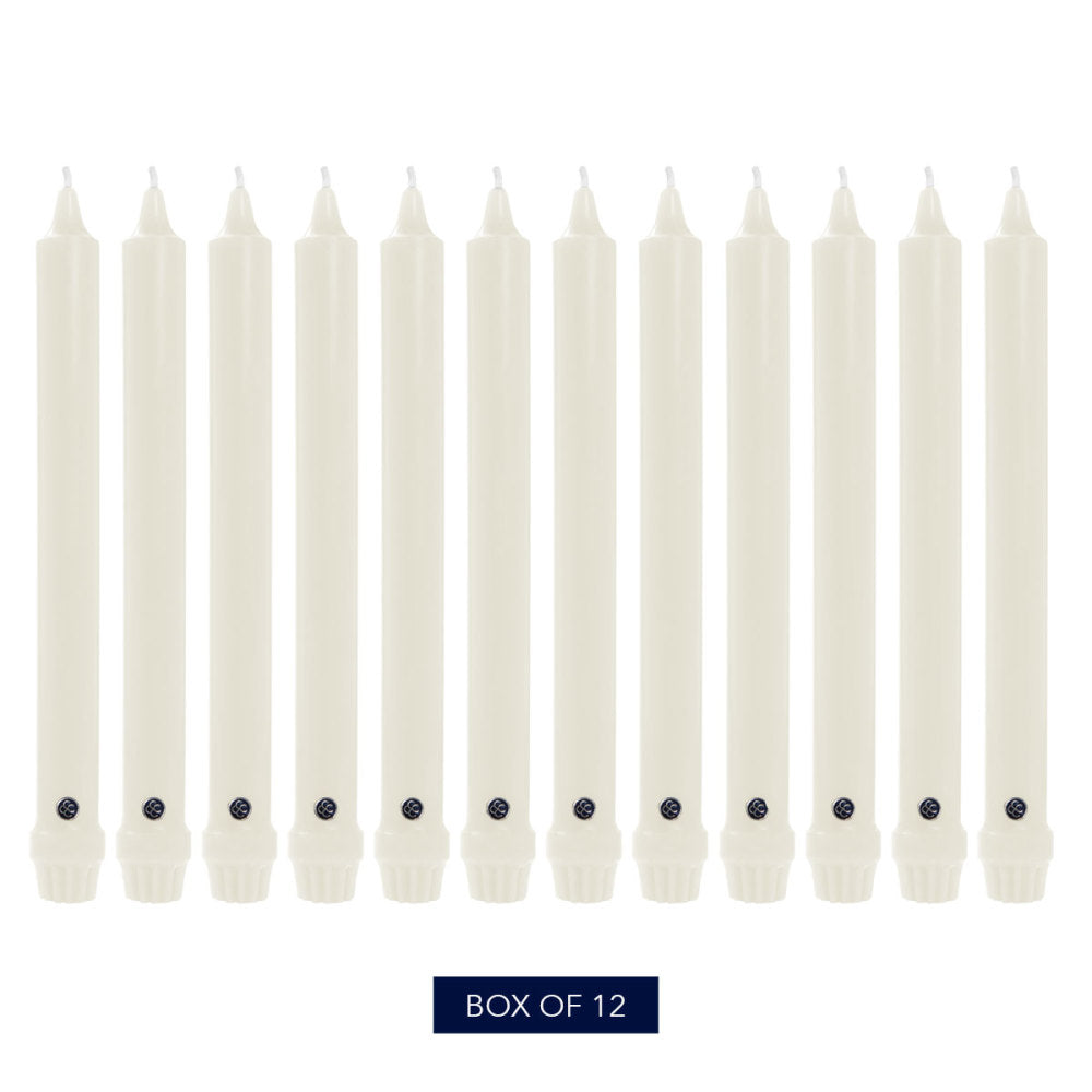 Colonial Candle 10 Inch Classic Unscented Handipt Taper Candles 12-Pack Ivory
