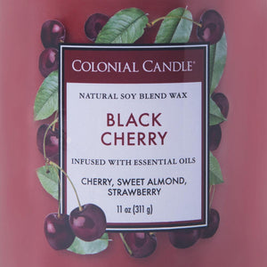 Colonial Candle Classic Cylinder Scented Jar Candle, Black Cherry, 11 oz, Single