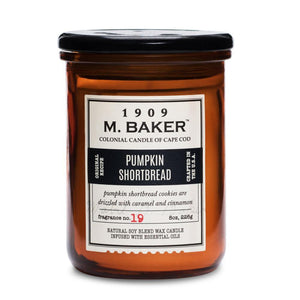 M. Baker Scented Jar Candle, Small, Pumpkin Shortbread, 8 oz, Single