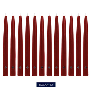 Colonial Candle Handipt Taper Candle, Unscented, 12 in, Traditional Cranberry, 12 Pack